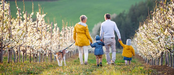 Family walking together outside